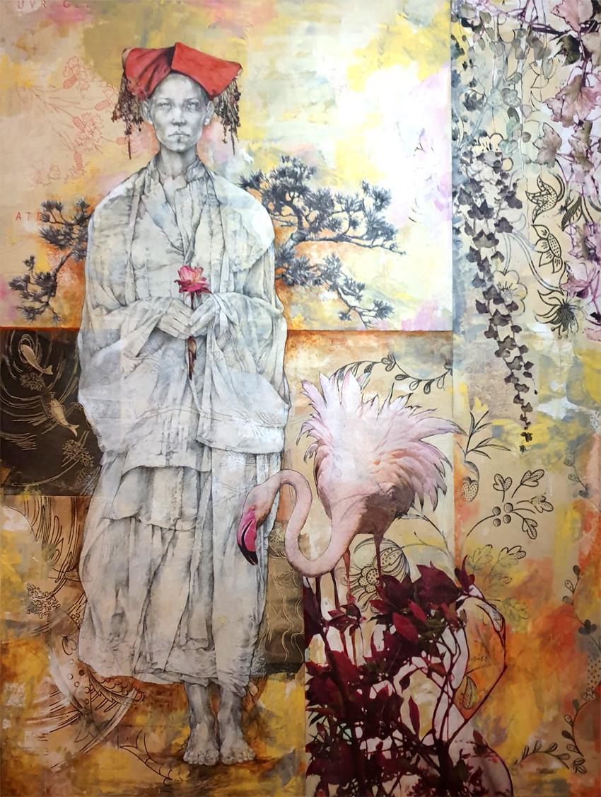 Collage Fusain Pastelencre 980€