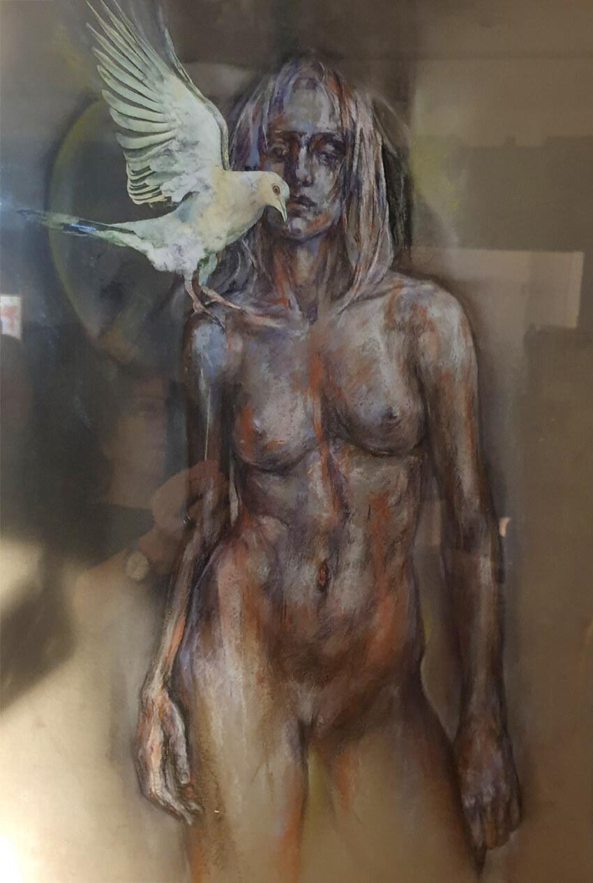''Oiseleuse'' Pastel Fusain Collage 550€