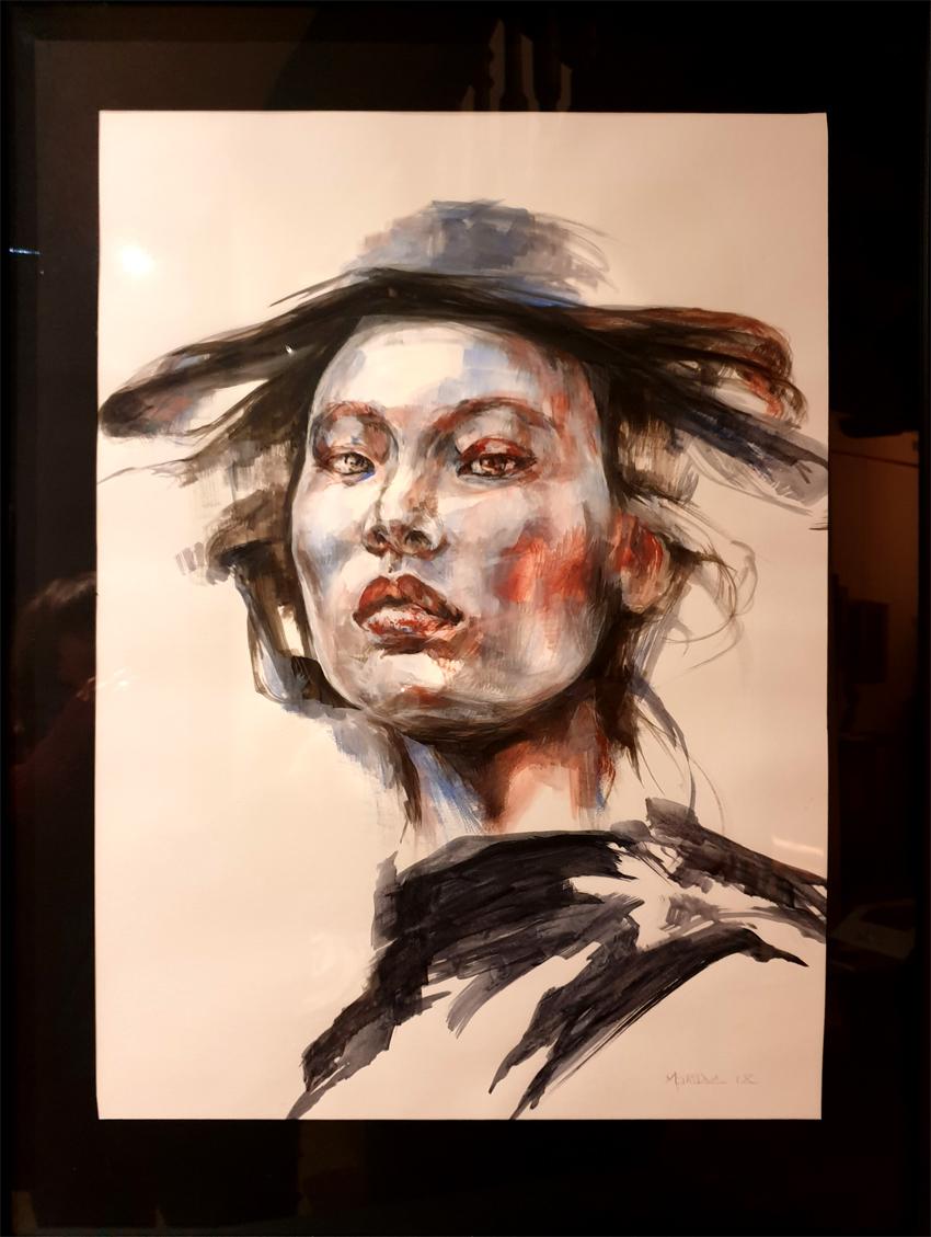 Portrait Japon Encre Fusain 520€